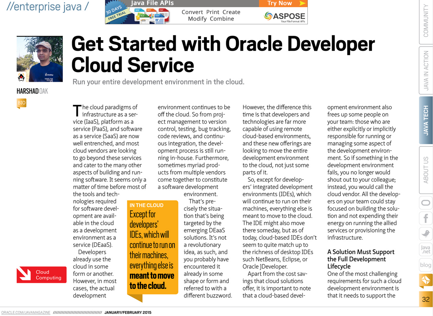 Oracle Developer Cloud Article Java Magazine JanFeb2015